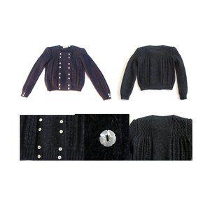 Sweaters - Vintage wool sweater military style black cardigan